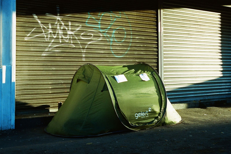 Photograph of a tent on the street